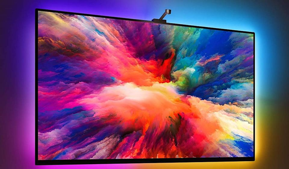 You're about to own the coolest TV on the block, thanks to Govee's smart bias-lighting kit. Its colorful LEDs automatically change based on what's showing on the screen. (Photo: Govee)