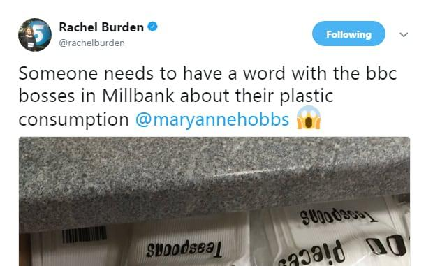 Radio 5 Live's Rachel Burden criticised the BBC for its plastics use