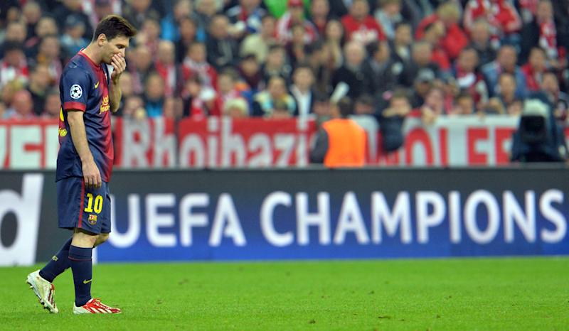 Barcelona forward Lionel Messi, of Argentina, walks on the pitch during the Champions League semifinal first leg soccer match between Bayern Munich and FC Barcelona in Munich, Germany, Tuesday, April 23, 2013. (AP Photo/Kerstin Joensson)