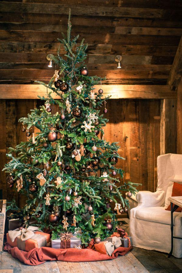 "<p>Celebrating Christmas at a winter getaway cabin? Bring a tree with you! Sweeten it with ornaments made of gingerbread and cushion it with an earth-toned skirt, as with this tree from <a href=""http://www.stylemepretty.com/vault/image/2532813"" rel=""nofollow noopener"" target=""_blank"" data-ylk=""slk:Style Me Pretty"" class=""link rapid-noclick-resp"">Style Me Pretty</a>. </p>"