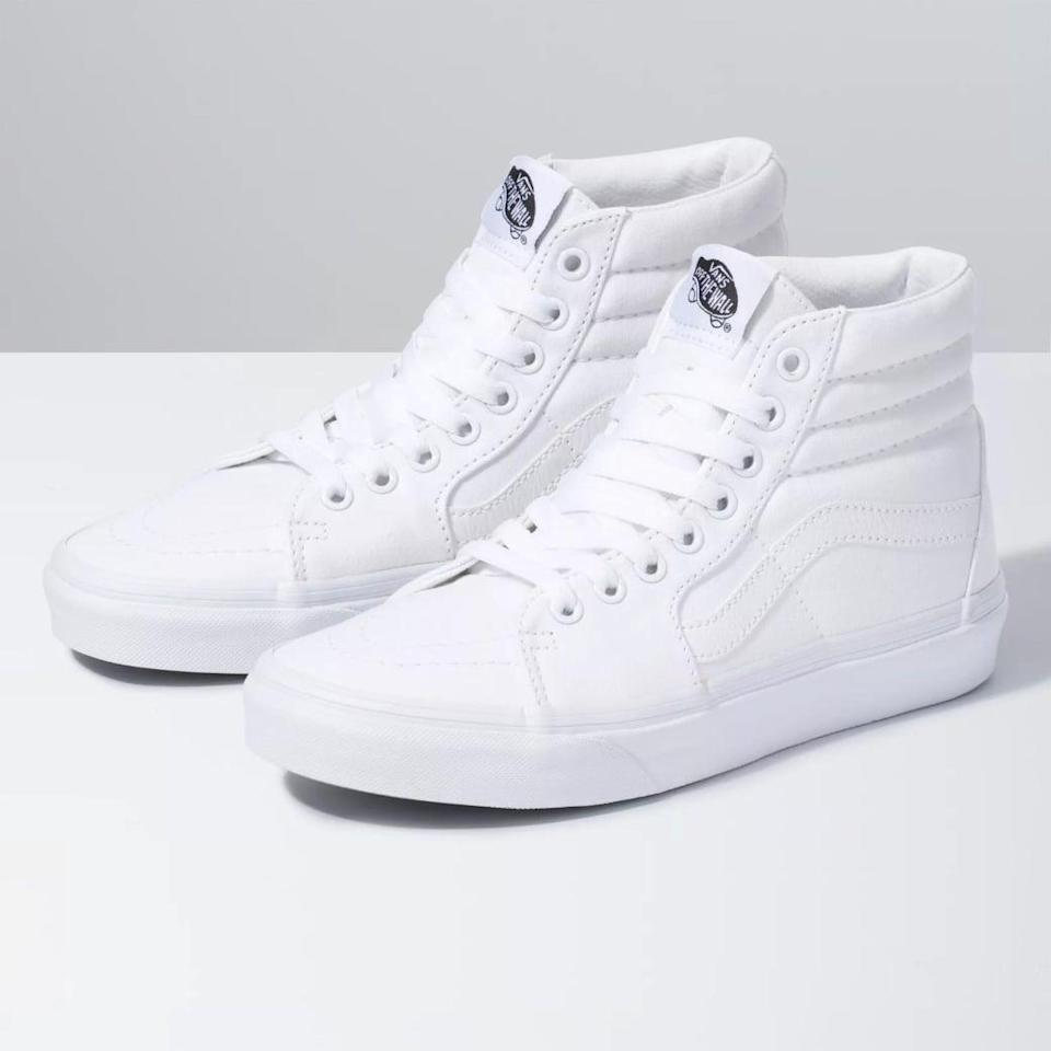 """<p>""""I put off investing in a pair of white sneakers for a while because I wasn't sure if I could pull them off, but after my favorite black Vans became so worn out that they practically begged me for mercy, I scooped up these <span>Vans Canvas Sk8-Hi Sneakers</span> ($70) and haven't looked back. Even though they're more susceptible to getting dirty, it's worth the risk for how well they match with everything in my closet."""" - Victoria Messina, associate editor, Trending and Viral Features</p>"""