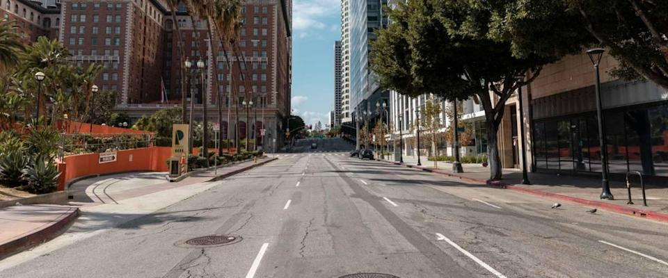 Empty streets in Downtown Los Angeles cause the  coronavirus pandemic emergency