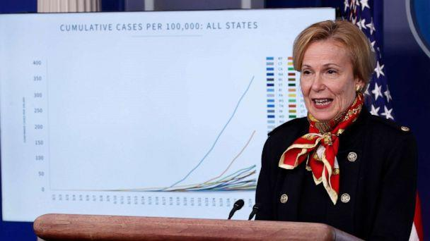 PHOTO: Dr. Deborah Birx, White House coronavirus response coordinator, speaks about the coronavirus in the James Brady Press Briefing Room of the White House, March 31, 2020, in Washington. (Alex Brandon/AP)