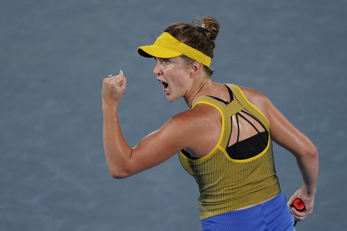 Elina Svitolina, of the Ukraine, reacts during the bronze medal match of the tennis competition against Elena Rybakina, of Kazakhstan, at the 2020 Summer Olympics, Saturday, July 31, 2021, in Tokyo, Japan. (AP Photo/Seth Wenig)