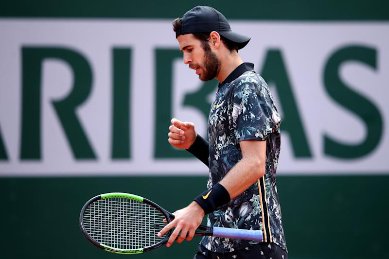 PARIS, FRANCE - JUNE 06: Karen Khachanov of Russia reacts during his mens singles quarter-final match against Dominic Thiem of Austria during Day twelve of the 2019 French Open at Roland Garros on June 06, 2019 in Paris, France. (Photo by Alex Pantling/Getty Images)