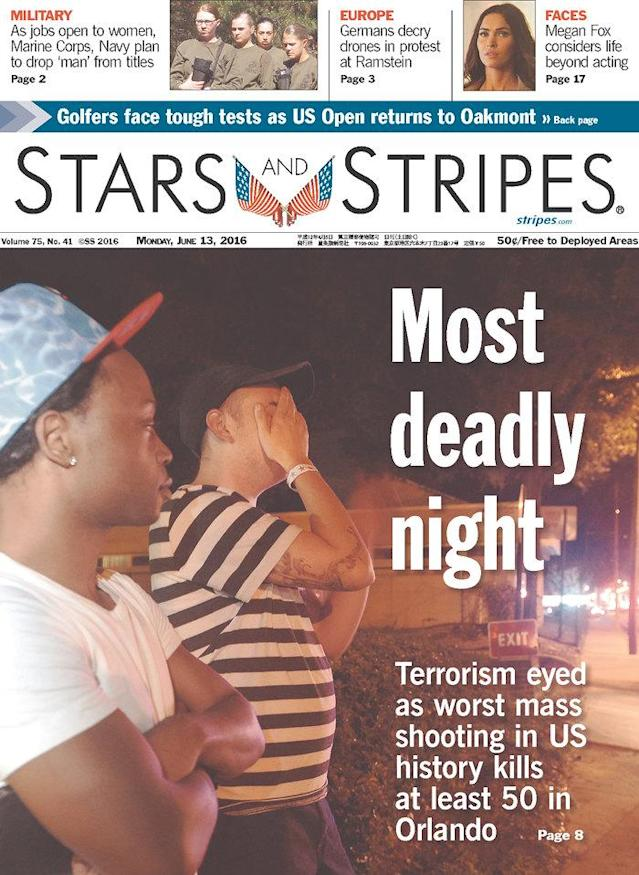 <p>Stars and Stripes – MidEast Edition<br> Published in Kabul, Afghanistan. (newseum.org) </p>
