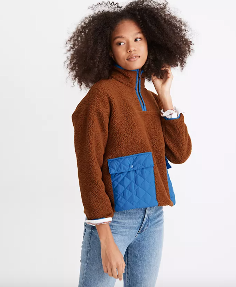 """<br><br><strong>Madewell</strong> (Re)sourced Fleece Quilted-Pocket Popover Jacket, $, available at <a href=""""https://go.skimresources.com/?id=30283X879131&url=https%3A%2F%2Fwww.madewell.com%2F%2528re%2529sourced-fleece-quilted-pocket-popover-jacket-MC240.html%3Fcolor%3DBR6283%23start%3D"""" rel=""""nofollow noopener"""" target=""""_blank"""" data-ylk=""""slk:Madewell"""" class=""""link rapid-noclick-resp"""">Madewell</a>"""