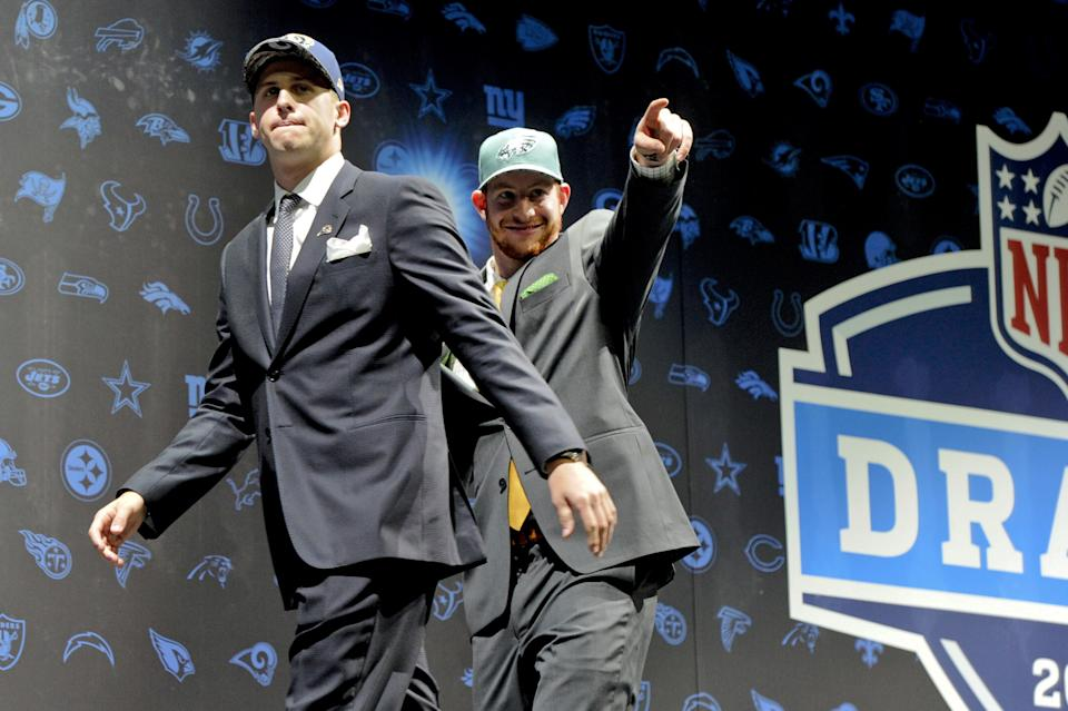 Jared Goff and Carson Wentz were the first two picks in the 2016 NFL Draft. They'll begin 2021 with new teams. (AP Foto/Matt Marton)