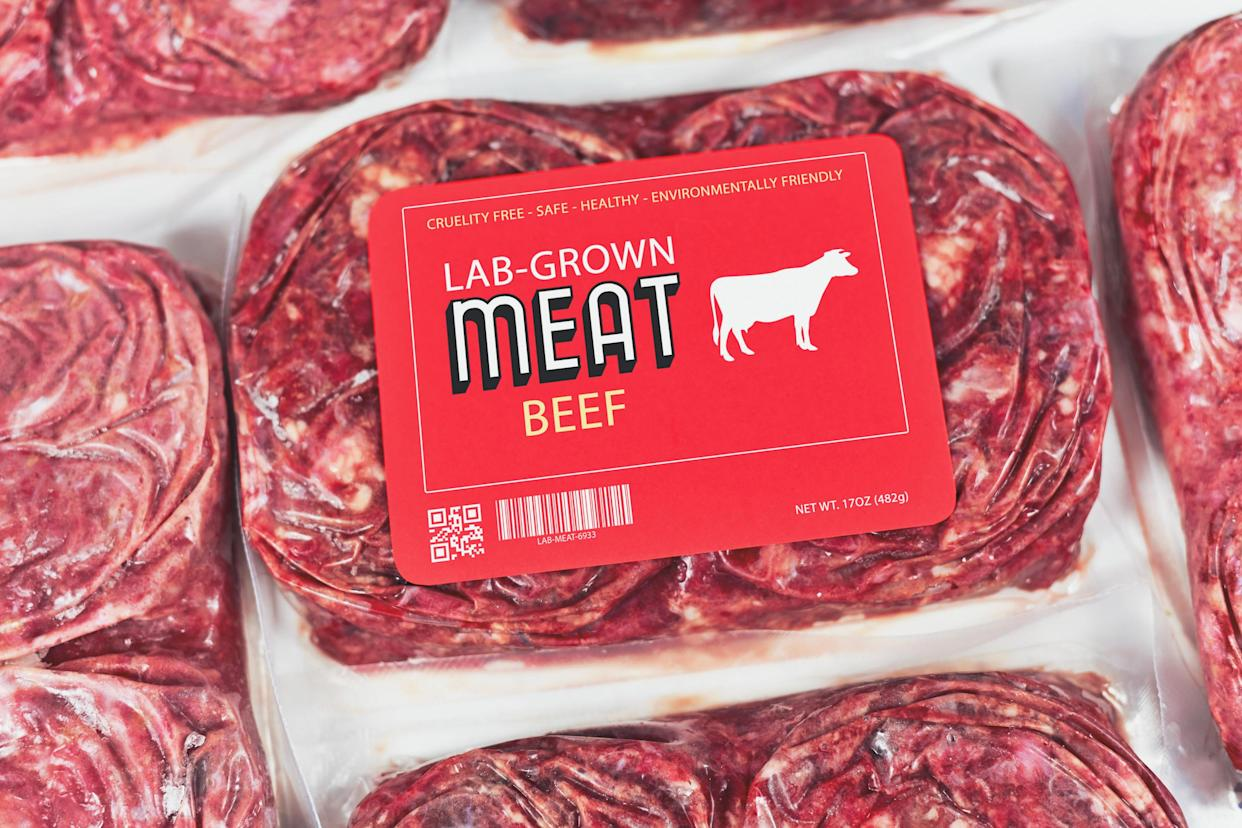 Lab grown cultured meat concept for artificial in vitro cell culture meat production with frozen packed raw beef meat with made up red label