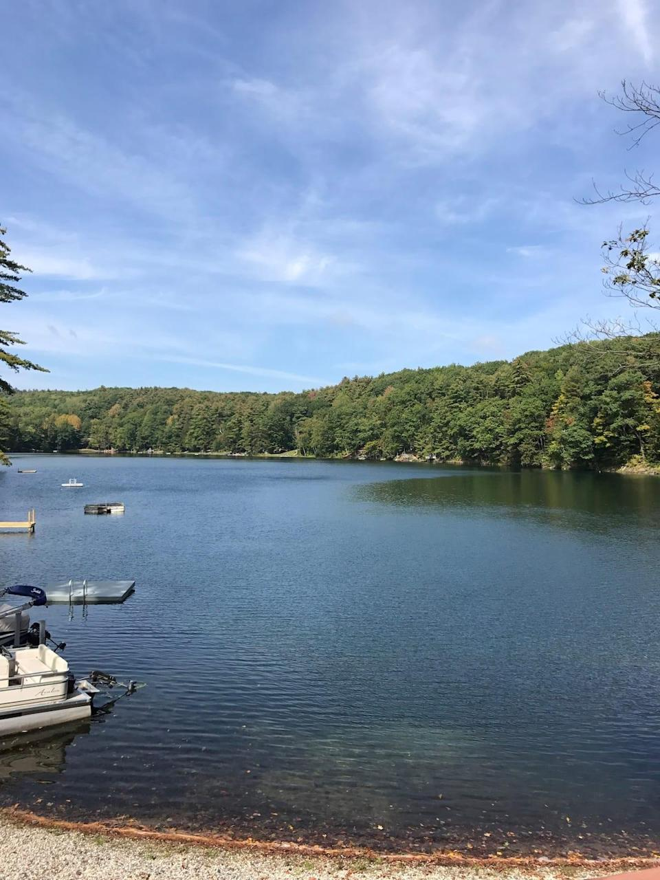 """<h2>Emerald Lake, New York</h2><br><strong>Location: </strong>Whitehall, New York<br><strong>Sleeps: </strong>8<br><strong>Price Per Night: </strong><a href=""""http://airbnb.pvxt.net/2rrGbG"""" rel=""""nofollow noopener"""" target=""""_blank"""" data-ylk=""""slk:$275"""" class=""""link rapid-noclick-resp"""">$275</a><br><br>""""Beautiful two-bedroom and loft bedroom, one-and-a-half baths, and large open basement. A-frame style home on a small, quiet lake in upstate New York in the town of Hampton/Whitehall (not on Lake George), 5 miles from the Vermont border, 33 miles from Lake George village, with a screened-in porch and a large deck. Grill provided.""""<br><br><h3>Book <a href=""""http://airbnb.pvxt.net/2rrGbG"""" rel=""""nofollow noopener"""" target=""""_blank"""" data-ylk=""""slk:Lakefront A-Frame style Home"""" class=""""link rapid-noclick-resp"""">Lakefront A-Frame style Home</a></h3>"""