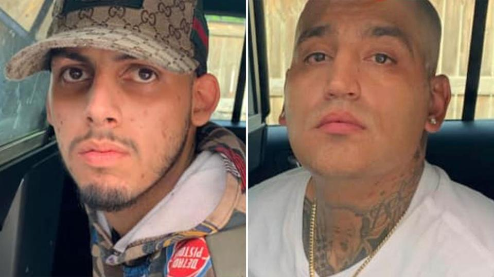 Jaime Trevino (left) and Adrian Guillen have been charged with aggravated robbery and theft. Source: San Antonio Police Department