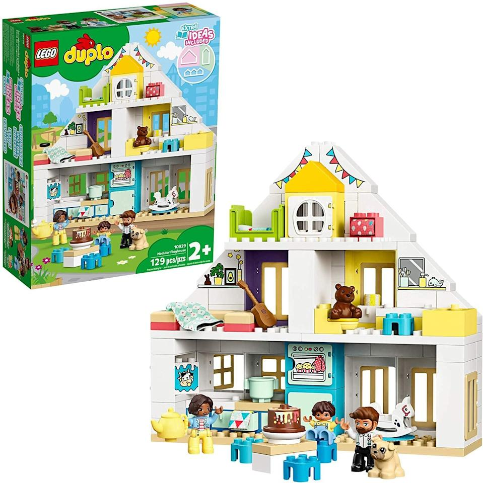 "<p>The <a href=""https://www.popsugar.com/buy/Lego-Duplo-Modular-Playhouse-551155?p_name=Lego%20Duplo%20Modular%20Playhouse&retailer=amazon.com&pid=551155&price=60&evar1=moms%3Aus&evar9=47243673&evar98=https%3A%2F%2Fwww.popsugar.com%2Ffamily%2Fphoto-gallery%2F47243673%2Fimage%2F47243797%2FLego-Duplo-Modular-Playhouse&list1=toys%2Ctoy%20fair%2Ckid%20shopping%2Ckids%20toys&prop13=api&pdata=1"" class=""link rapid-noclick-resp"" rel=""nofollow noopener"" target=""_blank"" data-ylk=""slk:Lego Duplo Modular Playhouse"">Lego Duplo Modular Playhouse</a> ($60) has 129 pieces and is best suited for toddlers ages 2 years and up.</p>"