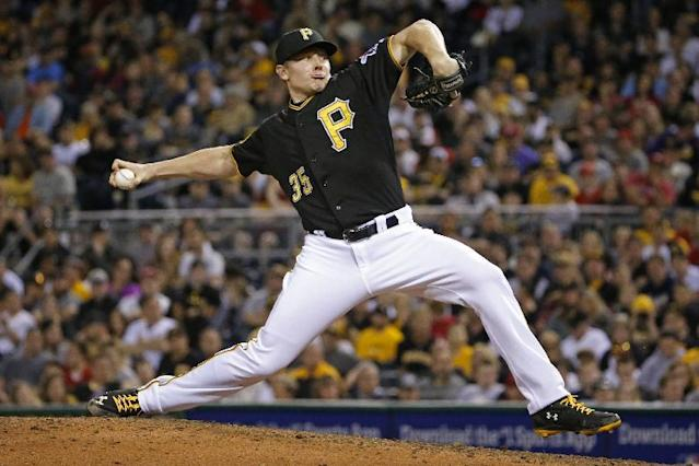 Pittsburgh Pirates relief pitcher Mark Melancon delivers during the ninth inning of a baseball game against the Washington Nationals in Pittsburgh Saturday, May 24, 2014. The Pirates won 3-2, with Melancon getting the save. (AP Photo/Gene J. Puskar)