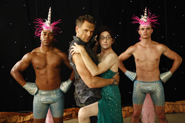 """History 101"" Episode 401 -- Pictured: (l-r) Joel McHale as Jeff Winger, Jim Rash as Dean Pelton"