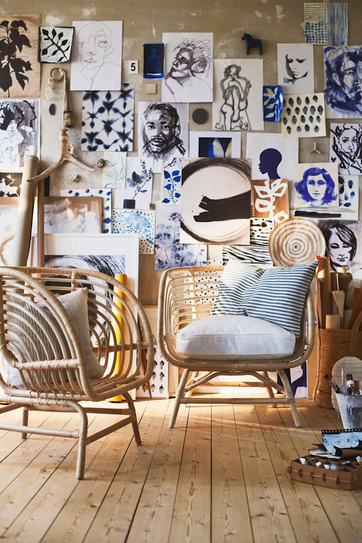 """In order to weave and mold rattan into a shape as intricate and detailed as this armchair, it must be boiled down and dried in the sun, an old-world technique that just can't be copied by a machine. <a rel=""""nofollow noopener"""" href=""""https://www.ikea.com"""" target=""""_blank"""" data-ylk=""""slk:SHOP NOW"""" class=""""link rapid-noclick-resp"""">SHOP NOW</a>: BUSKBO Armchair by IKEA, $130, ikea.com."""