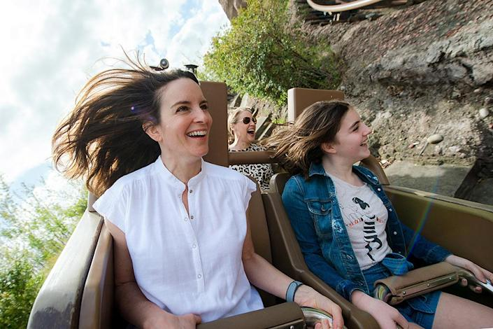 <p>Unbreakable Tina Fey! The funny woman is so cool … she doesn't even break a sweat on Expedition Everest roller coaster at Disney's Animal Kingdom at Walt Disney World Resort. (Photo: Chloe Rice/Disney Resorts via Getty Images) </p>