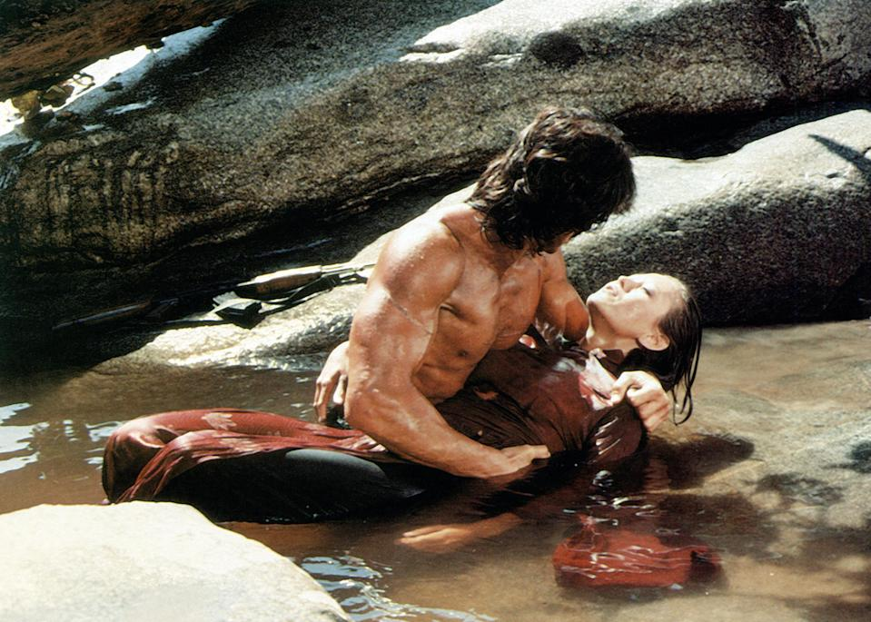 Rambo's brush with romance with Co Bao (Julia Nickson) ends as quickly as it begins in <em>First Blood Part II</em>. (Photo: TriStar Pictures/courtesy Everett Collection)