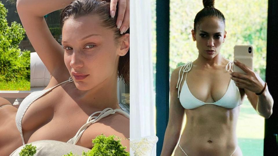 Bella Hadid and Jennifer Lopez set social media on fire with this coveted white bikini. (Images via Instagram)