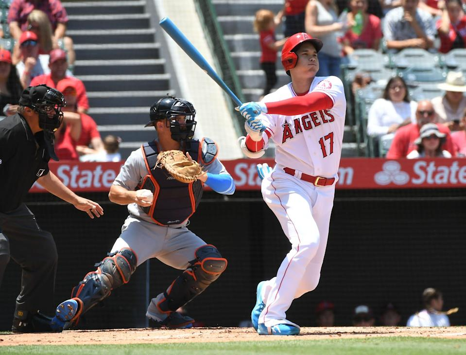 Jun 20, 2021; Anaheim, California, USA; Los Angeles Angels designated hitter Shohei Ohtani (17) strikes out against the Detroit Tigers during the first inning at Angel Stadium. Mandatory Credit: Richard Mackson-USA TODAY Sports