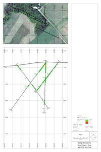 Plan map of drill hole locations in the southern part of Omu Sinter and a cross section illustrating mineralization encountered in the southern part of the Omu Sinter project area. Note that low-grade mineralization extends from surface to a vertical depth of approximately 180 m. Short intervals of higher grade mineralization are present. Irving suspects a higher grade feeder structure is nearby