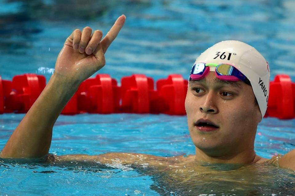 China's Sun Yang was the fastest qualifier in the preliminary heats of the men's 200m freestyle swimming event at the world championships in Kazan, on August 3, 2015 (AFP Photo/Christophe Simon)