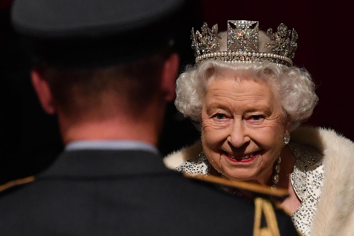 LONDON, UNITED KINGDOM - OCTOBER 14: Queen Elizabeth II reacts as she attends the State Opening of Parliament in the Houses of Parliament on October 14, 2019 in London, England. The Queen's speech is expected to announce plans to end the free movement of EU citizens to the UK after Brexit, new laws on crime, health and the environment. (Photo by Paul Ellis - WPA Pool/Getty Images)