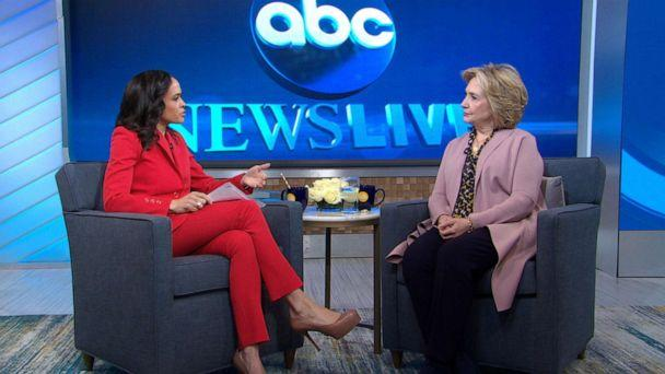 PHOTO: Hillary Clinton is interviewed by ABC News' Linsey Davis on 'Good Morning America,' March 3, 2020. (ABC News)
