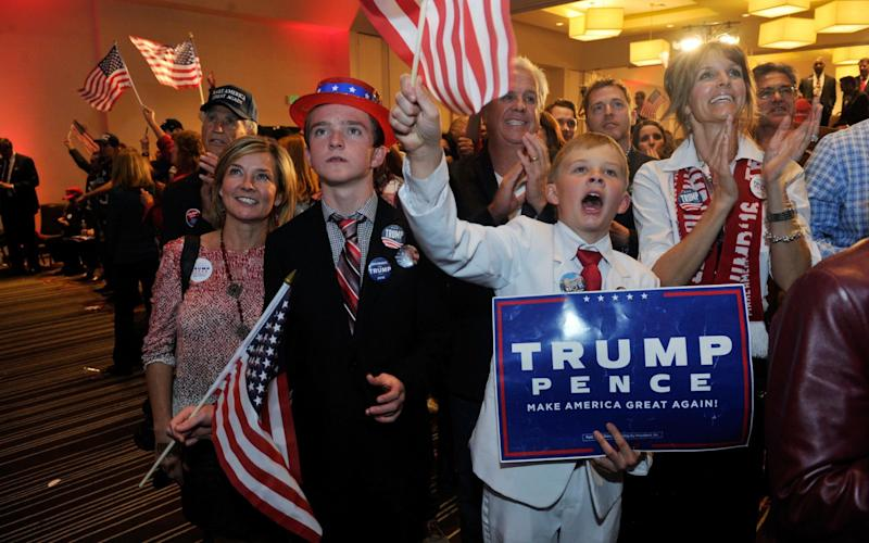 Supporters of Republican presidential nominee Donald Trump celebrate after Trump was declared as the winner of the US election while attending the Colorado GOP Election Night Party in Greenwood Village, Colorado on November 8, 2016. - Credit: Jason Connolly/AFP PHOTO
