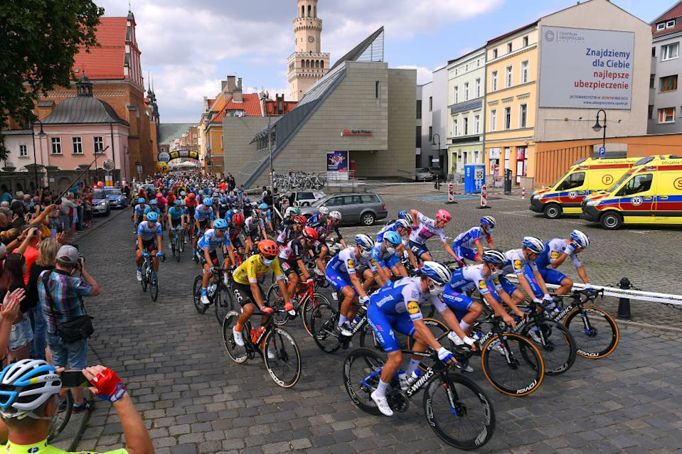 Start of stage 2 Tour de Pologne led by Deceuninck-Quick-Step