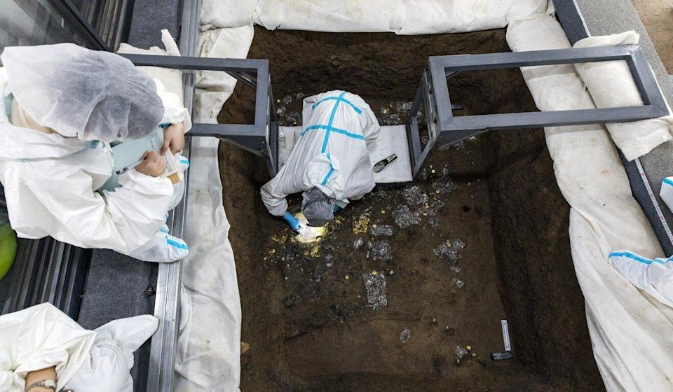 Archaeologists began excavating the six sacrificial pits in October. Photo: Xinhua