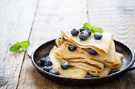 """<p>Crepes are an elegant and delicious breakfast, snack or dessert but are not typically something that comes to mind for Passover. This recipe makes it possible to enjoy by using kosher for Passover potato starch instead of flour. Enjoy them for lunch filled with veggies and cheese or for a light dessert sprinkled with lemon juice and sugar.</p> <p><a href=""""https://www.thedailymeal.com/recipes/basic-passover-crepe-recipe?referrer=yahoo&category=beauty_food&include_utm=1&utm_medium=referral&utm_source=yahoo&utm_campaign=feed"""" rel=""""nofollow noopener"""" target=""""_blank"""" data-ylk=""""slk:For the Passover Crepes recipe, click here."""" class=""""link rapid-noclick-resp"""">For the Passover Crepes recipe, click here.</a></p>"""