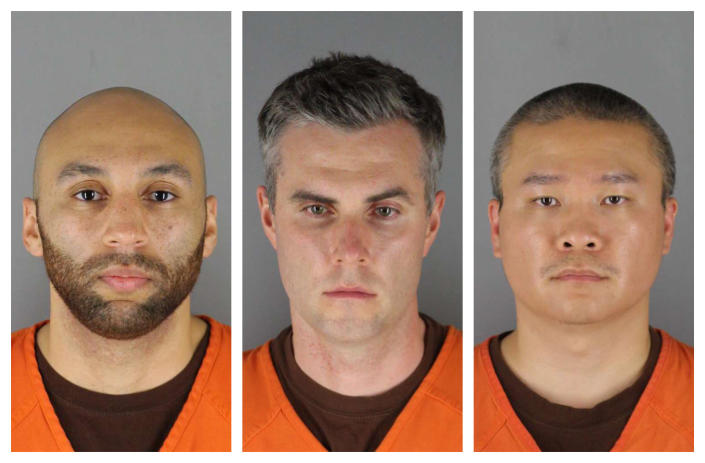 FILE - This Wednesday, June 3, 2020 combination of file photos provided by the Hennepin County Sheriff's Office in Minnesota shows J. Alexander Kueng, from left, Thomas Lane and Tou Thao. When the Minnesota Supreme Court overturned the third-degree murder conviction of Mohamed Noor, a former Minneapolis police officer who shot and killed a 911 caller, questions were raised about how it might affect three former officers charged in George Floyd's death. (Hennepin County Sheriff's Office via AP, File)