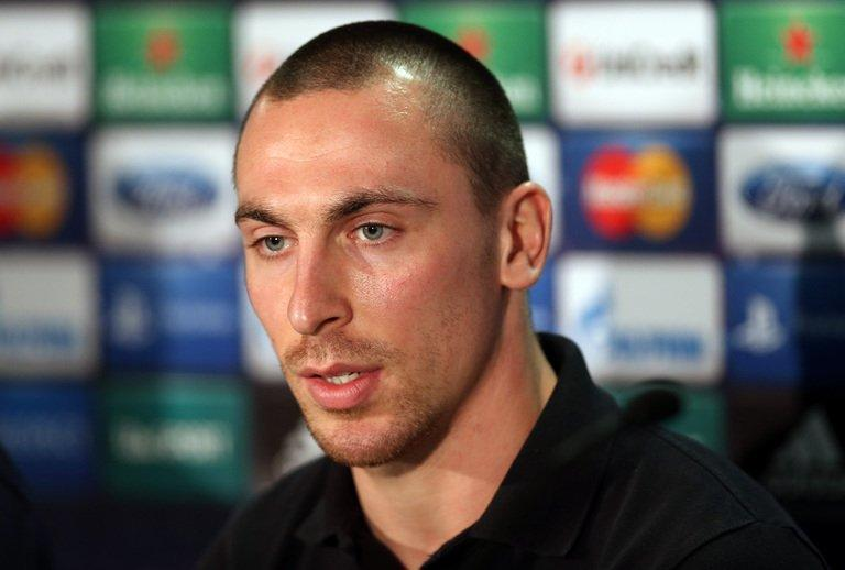 Celtic's captain Scott Brown talks at a press conference at Celtic Park, Glasgow, Scotland, on February 11, 2013
