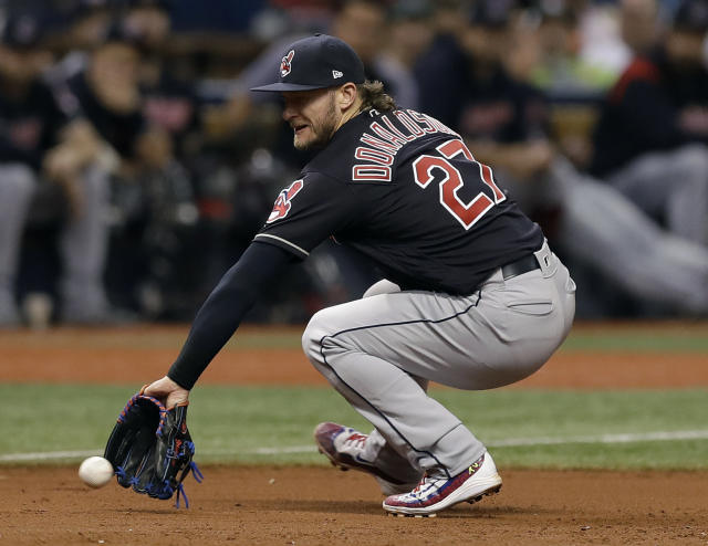 Cleveland Indians third baseman Josh Donaldson fields a ground ball by Tampa Bay Rays' C.J. Cron during the sixth inning of a baseball game, Tuesday, Sept. 11, 2018, in St. Petersburg, Fla. (AP Photo/Chris O'Meara)