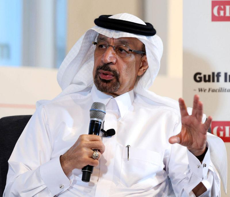 Saudi Energy Minister Khalid al-Falih speaks during the Gulf Intelligence Saudi Arabia Energy Forum in Riyadh