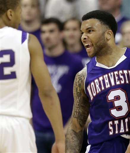 Northwestern State's Shamir Davis (3) reacts after making a basket while being fouled during the first half of the Southland Conference championship basketball game against Stephen F. Austin, Saturday, March 16, 2013, in Katy, Texas. (AP Photo/David J. Phillip)