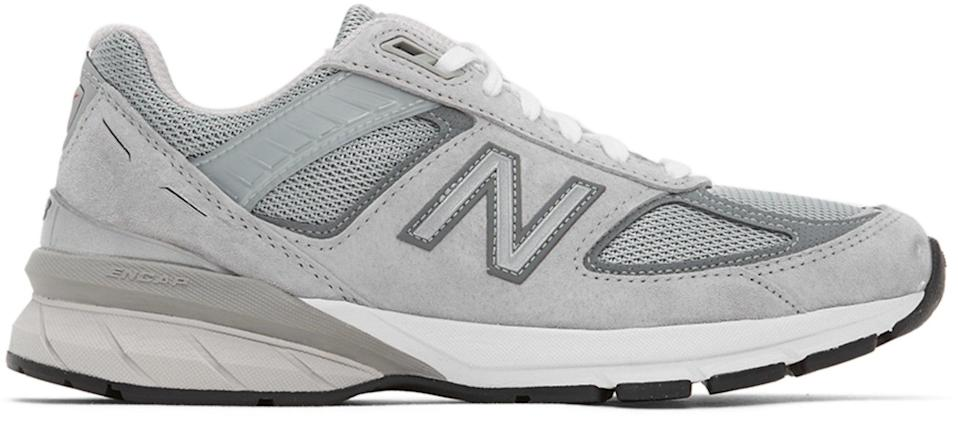 """<br><br><strong>New Balance</strong> Grey Made In US 990 v5 Sneakers, $, available at <a href=""""https://go.skimresources.com/?id=30283X879131&url=https%3A%2F%2Fwww.ssense.com%2Fen-us%2Fwomen%2Fproduct%2Fnew-balance%2Fgrey-made-in-us-990-v5-sneakers%2F5399471"""" rel=""""nofollow noopener"""" target=""""_blank"""" data-ylk=""""slk:SSENSE"""" class=""""link rapid-noclick-resp"""">SSENSE</a>"""