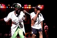 <p>Flavor Flav and Chuck D of Public Enemy perform in Chicago in 1990.</p>