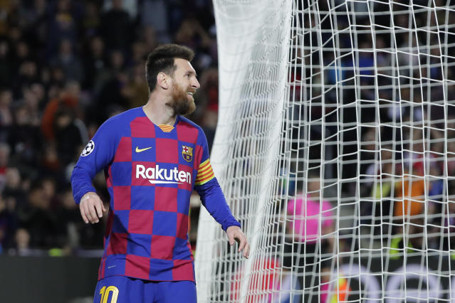 Barcelona's Lionel Messi reacts after missing a chance to score during a Champions League group F soccer match between Barcelona and Slavia Praha at Camp Nou stadium in Barcelona, Spain, Tuesday, Nov. 5, 2019. (AP Photo/Emilio Morenatti)