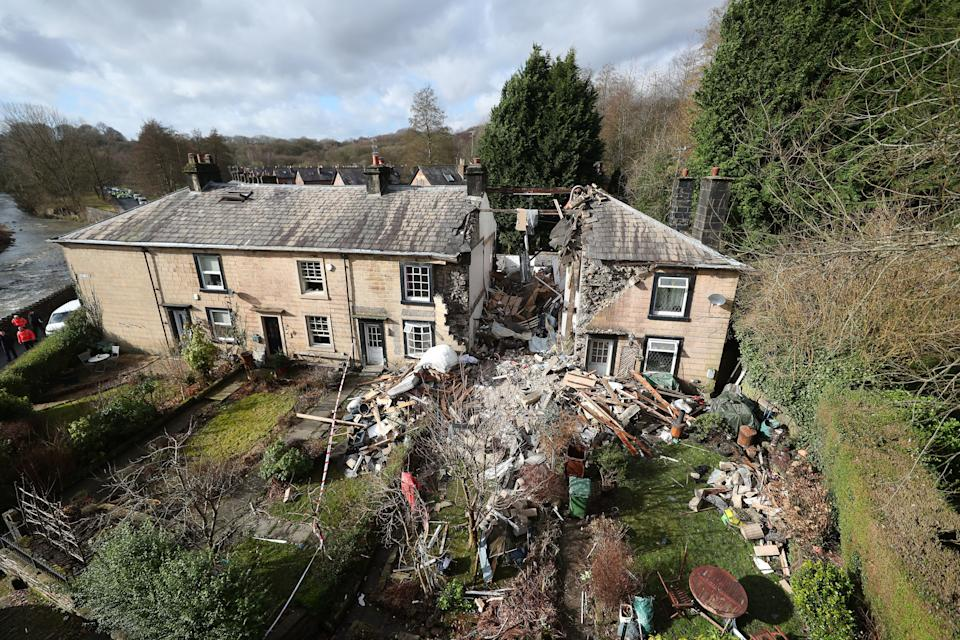 The scene in Ramsbottom, Bury, Greater Manchester, where the body of a woman was found after a house collapsed on Wednesday evening (PA Images)