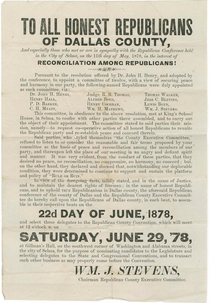 An announcement from the Republican Party of Dallas County in May 1878 announcing peace and harmony within the party.