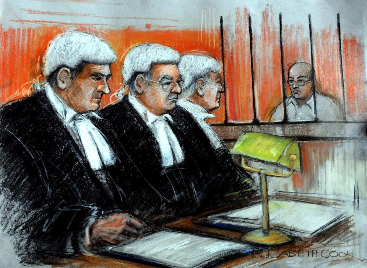 """Artist's impression of Colin Pitchfork, 48, (right) appealing the length of his sentence at the Court of Appeal in London. Colin Pitchfork, now 48, who was jailed for life 20 years ago for the """"heinous"""" murders of two schoolgirls in Leicestershire, is serving a minimum term of 30 years - the least he must spend behind bars before he can apply for parole."""