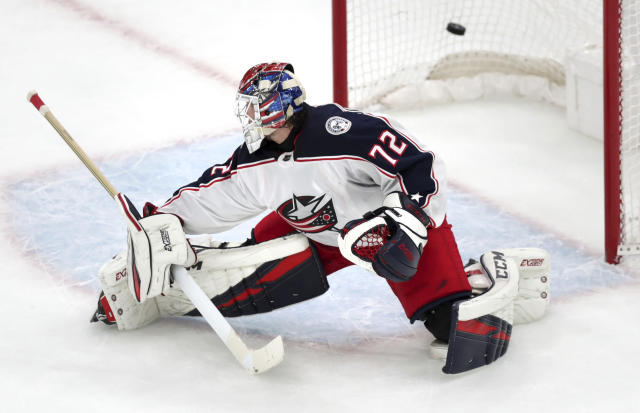 Columbus Blue Jackets goaltender Sergei Bobrovsky (72) looks back as the puck sails into the net on a goal by Boston Bruins center Noel Acciari during the first period of Game 1 of an NHL hockey second-round playoff series, Thursday, April 25, 2019, in Boston. (AP Photo/Charles Krupa)
