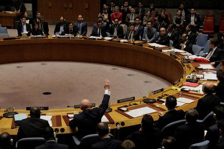 Representatives of Russia and Bolivia vote in the United Nations (UN) Security Council on a bid to renew an international inquiry into chemical weapons attacks in Syria during a meeting at the UN headquarters in New York, U.S., November 16, 2017. REUTERS/Lucas Jackson