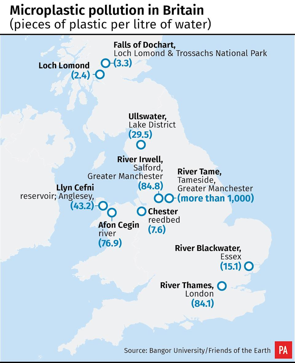 Sites from the Lake District's Ullswater and Scotland's Loch Lomond to the River Thames all had tiny pieces of plastic in the water, survey shows.