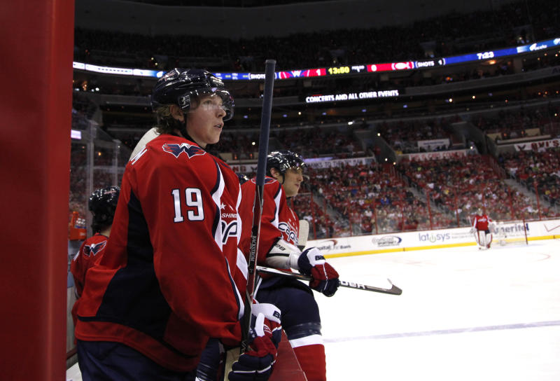 Washington Capitals center Nicklas Backstrom looks on during the first period of an NHL hockey game against the Montreal Canadiens on Saturday, March 31, 2012 in Washington.  (AP Photo/Evan Vucci)