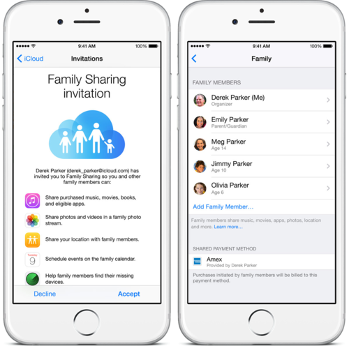 Family Sharing screens on an iPhone