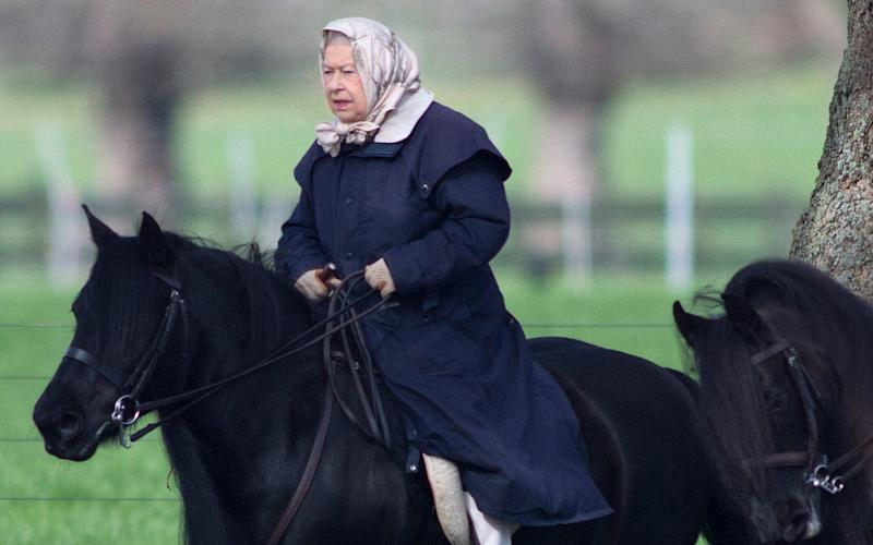 The Queen was pictured riding near Windsor Castle - © Kelvin Bruce
