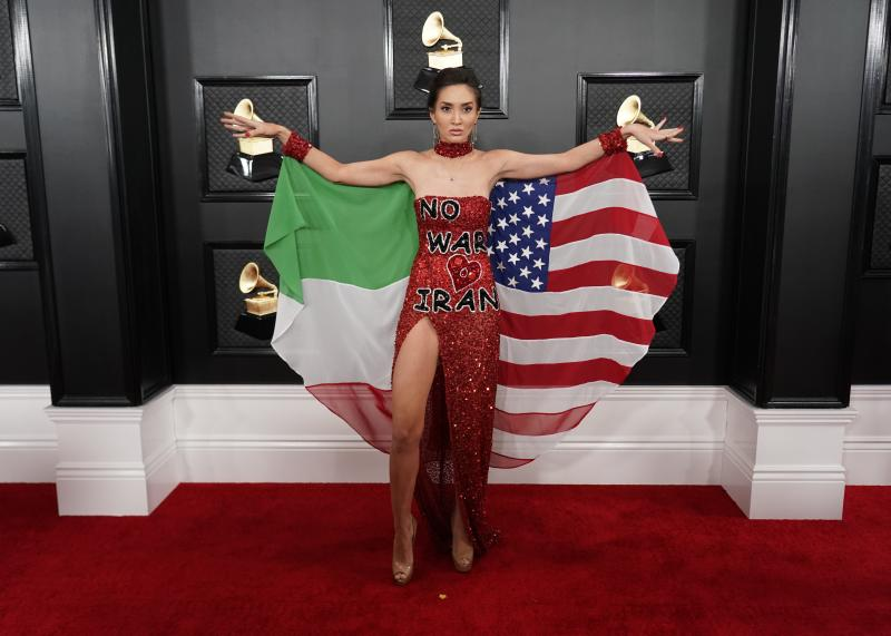 Megan Pormer made a statement about Iran with her dramatic Grammys get-up. (Photo: REUTERS/Mike Blake)