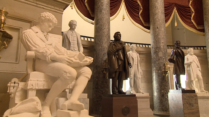 A statue of Jefferson Davis (centre) in the halls of the US Congress
